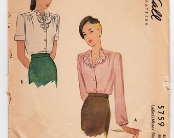 """Vintage Sewing Pattern Ladies' Blouses 1940's McCall 5759 in 30"""" Bust - Free Pattern Grading E-book Included"""