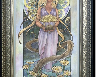 Original Art 10x20 Watercolor Painting Lady of April Art Nouveau Birthstone Birth Flower Series with Daisies and Trees