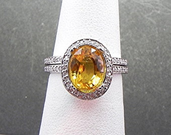 AAA Canary Yellow Sapphire   9.5x7.5mm  3.46 Carats   in 14K White gold diamond bridal set(.50ct) 0978 B108