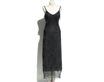Black Crocheted Dress / Glass Beads Shoulder Strap Party Dress
