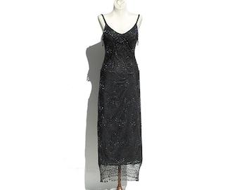 Black Crocheted Dress / Glass Beads Shoulder Strap Party Dress