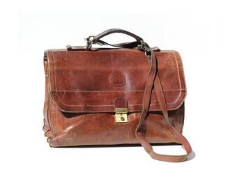 Vintage Men's Brown Leather Large Portfolio Briefcase Attach Bag