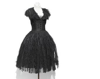 Vintage Black Mesh and Lace Dress / Party Dress / Evening Dress