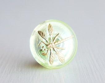 Jonquil Drangonfly 18mm Czech Glass Button