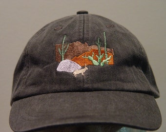 DESERT CACTUS RABBIT Hat - One Embroidered Wildlife Cap - Price Embroidery Apparel - 24 Color Caps Available