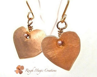 Heart Earrings, Rustic Copper Jewelry, Romantic Gift for Women, Primitive Metalwork, Hammered Copper, Sweetheart Gift, Present for Her E308
