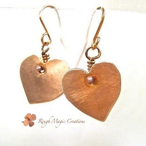 Heart Earrings. Copper Earrings. Rustic Jewelry. Primitive Metalwork. Romantic Gifts. Sweetheart Jewelry. Hammered Copper Jewelry