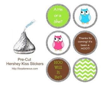 88 Hershey Kiss Labels  - Stickers for Candy Kisses - Owl Gender Reveal Party