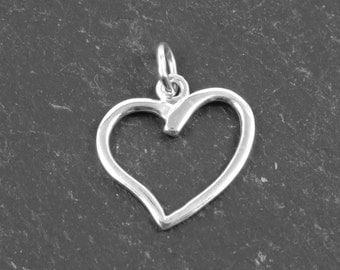 Sterling Silver Open Heart Pendant 15mm (CG8862)