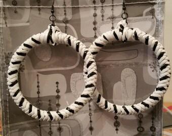 Large Black and White Hoop Earrings