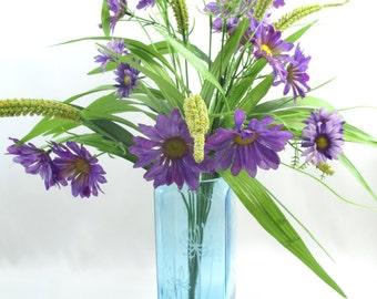 Recycled Glass Bombay Saphire Gin Bottle Vase Sandblasted Floral Design