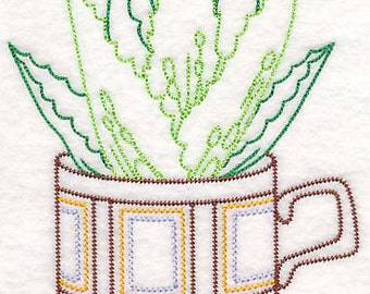 Embroidered Succulent Aloe Vera in a Cup Towel Vintage Look Flour Sack Kitchen Tea Towel