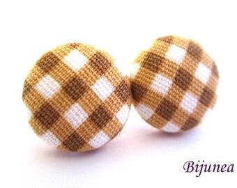 Gingham earrings - Brown gingham stud earrings - Brown gingham posts - Brown gingham studs - Brown gingham post earrings sf1142