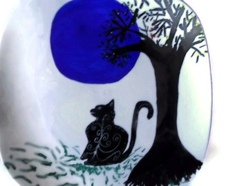 Halloween Party Table Decor Blue Moon with Black Cat Silhouette the Giving Plate Unisex Party Favor Gift Gothic Wedding Fall Autumn