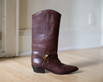 Vintage Brown Woven Leather Huarache Booties // WESTERN Low Heel Boots - Size 7.5