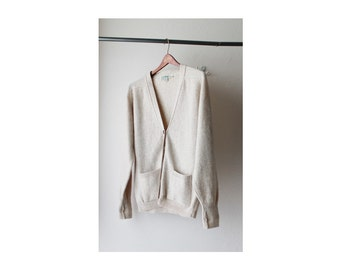 SALE - 1970's LL Bean Wool Beige V Neck Cardigan