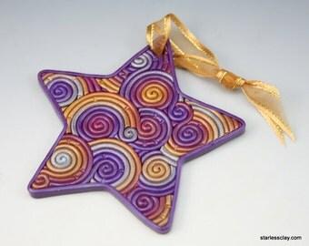 Star Christmas Ornament in Purple, Gold, Silver Fimo Filigree