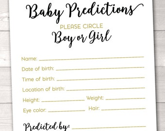 Baby Predictions Instant Download Printable PDF with Black and Gold Polka Dot Confetti Printable Baby Shower Game