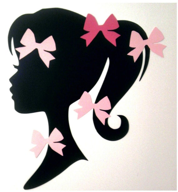 Pin the Bow on Fashion Girl Doll Silhouette Party Game
