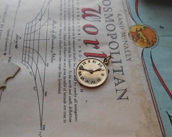 vintage movable clock 1/20 12k gold filled pendant charm