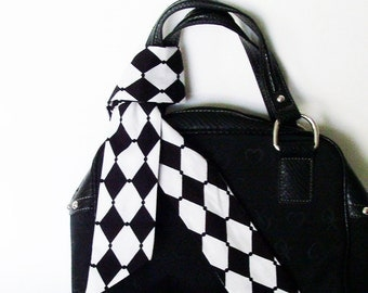 Black White Harlequin Head Scarf /  Hair Accessory / Neck Scarf / Handbag or Walker Adornment / Rockabilly Scarf / Unique Gift Under 20
