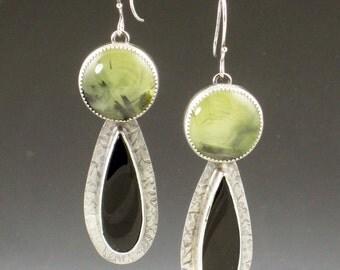 Prehinite and Black Onyx Earrings, green and black, dangle earrings, sterling silver, bohemian earrings, boho earrings