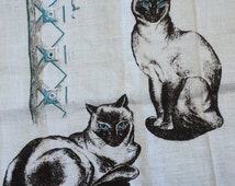 "Blue Eyed Siamese-Kay Dee-Pure 100% Linen-Kitten Cat-Tea TOWEL-Vintage-NWT-Hand Prints-30"" x 17""-Unused-New Old Stock-MCM-Mid Century Modern"