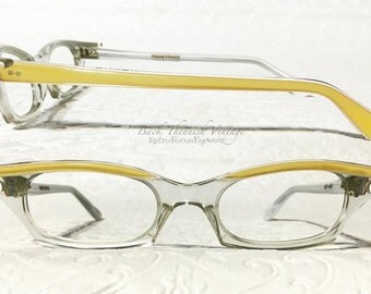 50's Eccentric French Slim Cat Eye Glasses Yellow Browline Crystal Clear Eyeglass Frames France Back Thennish Vintage