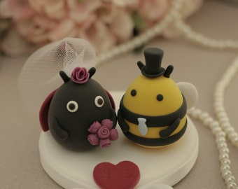 bee and lady bug Wedding Cake Topper-l Bees and lady bug-----k790