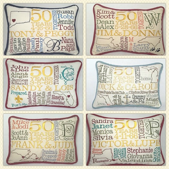 Embroidered pillow th anniversary gift by ellcustomdesigns