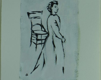 Woman and Chair - Original Painting by Elizabeth Bauman