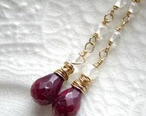 Ruby Earrings-Linear Ruby Earrings-Linear Gemstone Earrings