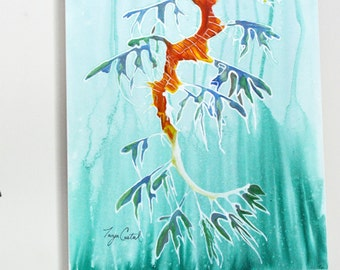 Leafy Sea Dragon Original Painting, gouache watercolor, large art on canvas, 22 x 28