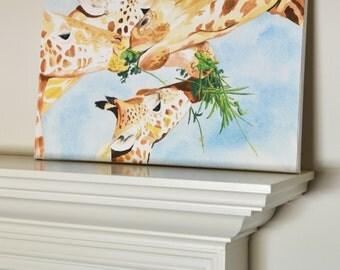 Giraffe #2 Original Painting gratitude, gouache watercolor, large art on canvas, 16x20
