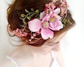 pink flower crown, dogwood flower, bridal headpiece, wedding hair piece, floral crown, pink flower headband, flower girl halo, head piece