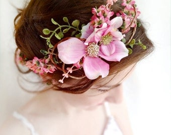 pink flower crown, floral crown, dogwood flower, bridal headpiece, wedding headpiece, floral crown, pink flower headband, flower girl crown
