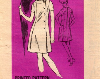 1960s Mail Order M417 Designer Vintage Sewing Pattern Misses A-line Dress Size 16 Bust 38