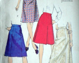 Vintage 70's Simplicity 6313 Sewing Pattern,  Misses' Set of Skirts, Look Slimmer Pattern, Size 12, 26.5 Waist, Uncut