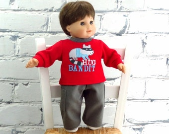 Bitty Twin Boy Doll Clothes Raccoon Tee Shirt and Cargo Pants, 15 inch Doll Clothes Hug Bandit Shirt and Pants, fits Bitty Baby too!