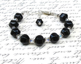 Black Onyx, Swarovski Crystal, and Sterling Silver - Adjustable 7.5 to 8.5 inches