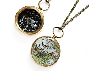 Small New Orleans Map Compass Necklace, Brass Working Compass on Antiqued Brass Chain, Vintage Map, Louisiana