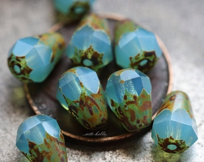 LAGOON PICASSO DROPETTES No. 1 .. 10 Picasso Czech Glass Drop Beads 8x6mm (5208-10)