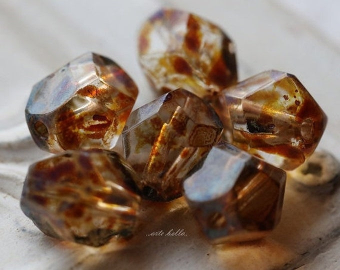 sale .. AMBER NUGGETS .. 6 Picasso Czech Faceted Glass Beads 9-10mm (4940-6)