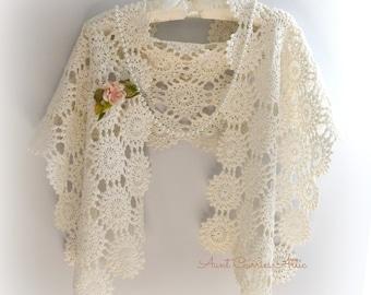 Crochet Wrap Shawl White Wedding Shawl Mother of Bride Shawl Evening Wrap