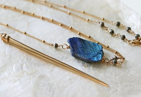 Labradorite Necklace, Ready to Ship, Spike Necklace, Y Necklace, Stone Necklace, Raw Stone Necklace, Long Gold Necklace, Spike Jewelry