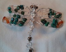 Dragonfly pendant sterling silver turquoise carnelian pearl #mothersday #self reliance #poise  #elegance and grace #power and movement