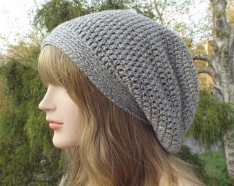 Gray Heather Slouchy Beanie, Womens Crochet Hat, Slouchy Hat, Boho Slouch Beanie, Oversized Hipster Hat, Slouch Hat, Baggy Beanie