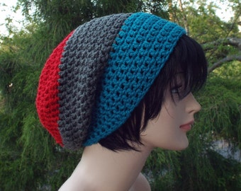 Mens Slouchy Beanie, Red Gray and Teal Crochet Hat, Oversized Slouch Beanie, Chunky Hat, Baggy Beanie, Slouchy Hat, Winter Hat, Slouch Hat