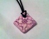 Aromatherapy Essential Oil Diffuser Jewelry Ceramic Pottery Purple Diamond Shaped  Necklace Pendant