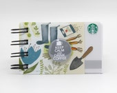 STARBUCKS Upcycled GIFT CARD Spiral Notepad or Notebook with Flair Button embellishment Keep Calm and Drink Coffee